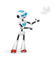 robot releasing a dove for freedom concept vector image