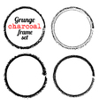 Set four grunge circle charcoal frames