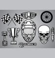 set motocross racing with skull vector image vector image