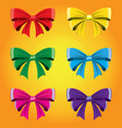 set of colored bows image decorative element vector image vector image