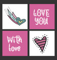 set of cute cards for st valentines day vector image
