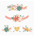 set of cute retro floral bouquets vector image vector image