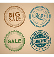 Set of old round stamps for sale vector image vector image