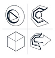 Set of three-dimensional abstract icons play sign vector image