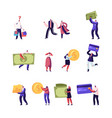 set tiny male and female characters holding vector image vector image