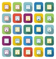 Square face color icons with long shadow vector image vector image