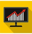 Statistics on monitor icon flat style vector image vector image