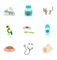 Veterinary things icons set cartoon style vector image
