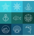 water sea line icons and logos vector image