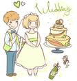 wedding set with newlyweds vector image vector image