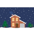 Winter house Night Family suburban home vector image vector image