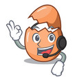 with headphone broken egg isolated on the mascot vector image
