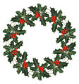 wreath with holly and berries vector image