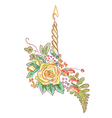 yellow rose with a candle and ferns vector image vector image