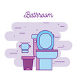 bathroom toilet and paper trash can image vector image
