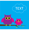 Two cute owls and cloud Card vector image