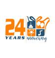 24 year gift box ribbon anniversary vector image vector image