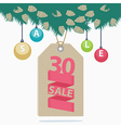 30 percent reduction Christmas sale label vector image vector image