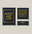 3d peace and love lettering and alphabet on gray vector image vector image
