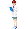 A nurse holding a chart vector image vector image