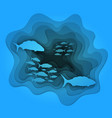 a school of fish floating on the waves vector image vector image