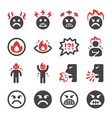 angry icon set vector image