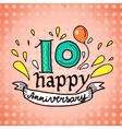 Anniversary sign 10 vector image