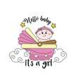 baby shower card to welcome a girl vector image