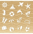 Beach with sea icons vector image vector image