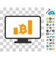 bitcoin chart monitoring icon with bonus vector image vector image