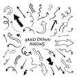 black flat hand drawn line doodle arrows vector image