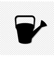 black silhouette of watering can on transparent vector image