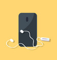 black smartphone with earphones isolated on yellow vector image