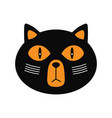 cartoon black cat face isolated on white vector image vector image