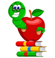 caterpillarbooks and apple vector image vector image