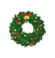christmas coniferous spruce wreath isolated vector image vector image