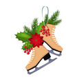 christmas skates with fir berries and poinsettia vector image