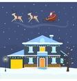 Christmas winter city street with Santa vector image vector image
