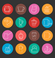 colorful coffee thin line icons set vector image vector image