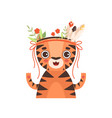 cute tiger animal wearing headdress with feathers vector image