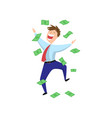 delighted excited happy businessman jumping in vector image