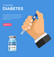 diabetes concept with insulin pen injection vector image vector image