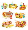 fast food burger pizza and hot dog with drinks vector image