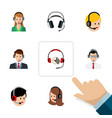 flat center set of call center earphone vector image vector image