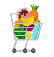 full supermarket shopping trolley cart with vector image