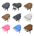 grand piano icons set isometric style vector image vector image