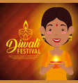 happy diwali festival of lights with candles vector image