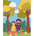 happy thanksgiving family couple sitting in the vector image