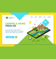 hiking in a park concept landing web page template vector image vector image