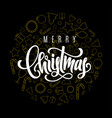 holiday card with hand lettering merry christmas vector image vector image